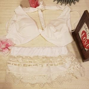 Lace bottom White swimming Suit